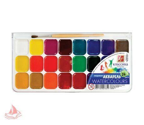 Акварель ЛУЧ Классика, 24 цветов, медовые, пластиковая коробка, с кистью, арт. 19С1295-08
