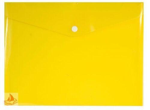 Папка-конверт на кнопке А5+ inФОРМАТ желтый пластик, PK65A5Y