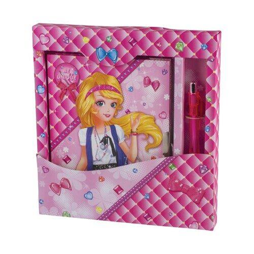 "Блокнот BRAUBERG ""Красивая девочка"", А7, 56 л., замок+ручка, подарочная упаковка, 130х175 мм, арт. 128425"