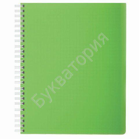 """Тетрадь HATBER """"DIAMOND-зеленая"""" А5, 80 листов, клетка, гребень, пластиковая обложка"""