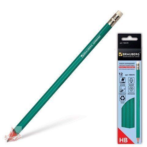 Набор карандашей ч/гр BRAUBERG, 12 шт, НВ, с резинкой, пластиковый зеленый корпус, арт. 180678