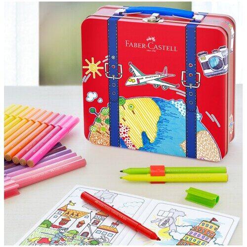 """Набор для рисования Faber-Castell """"Connector"""" 40 фломастеров+6 клипс+раскраска+чемоданчик"""