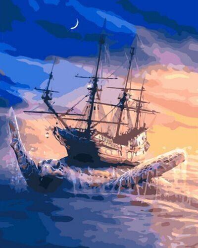 "Холст с красками по номерам ""Черепаха и корабль"", 40х50см"
