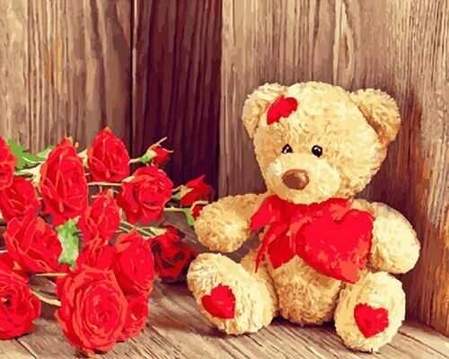 "Холст с красками по номерам ""Мишка и розы"", 40х50см"