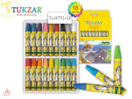Мелки масляные Tukzar 18 цветов, вес мелка 8,5 г, длина 73 мм, заточенный наконечник, арт. TZ 8751-18
