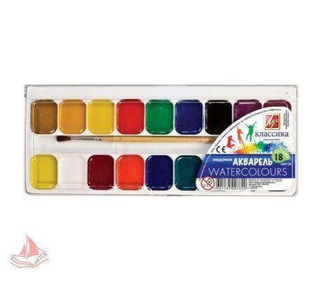 Акварель ЛУЧ Классика, 18 цветов, медовые, пластиковая коробка, с кистью, арт. 19С1293-08