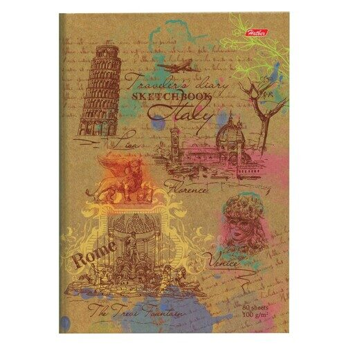 """Блокнот для эскизов (скетчбук) HATBER  """"Италия"""", А5, 80л., белая бумага, 205х175 мм, 100 г/м2, арт. 17208"""