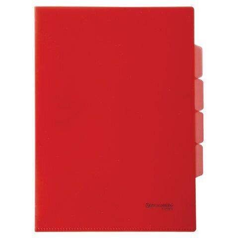 Папка-уголок с 3 отделениями, жесткая, BRAUBERG, красная, 0,15 мм, арт. 224884