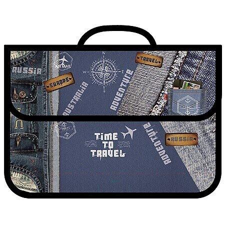 """Папка с ручкой Пчелка """"Jeans travel"""", А4, печать на пластике, арт. ПМ-А4-23"""