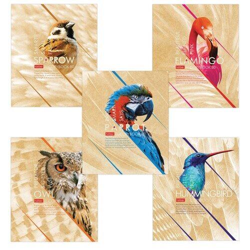 """Тетрадь Hatber """"Birds"""", А5, 96 л., клетка на скрепке, выборочный лак"""