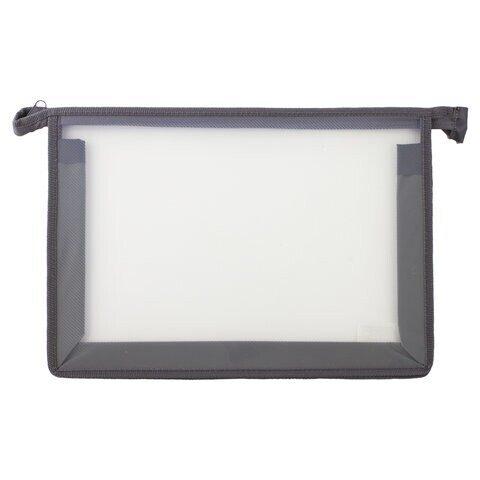 Папка для тетрадей ПИФАГОР, А4, пластик, молния сверху, прозрачная, серая, арт. 228210