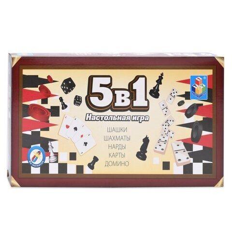 """Игра магнитная 5 в 1 """"Шашки, шахматы, нарды, карты, домино"""", арт. Т12060"""