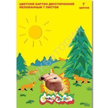 Картон цветной Каляка-Маляка А4, 7 листов, 7 цветов, мелованный двусторонний, в папке, арт. КЦДКМ07