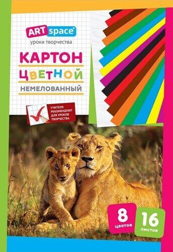 Картон цветной A4, ArtSpace, 16 листов, 8 цветов, немелованный, в папке, арт. Нкн16-8_6961