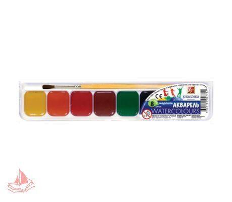 Акварель ЛУЧ Классика, 8 цветов, медовые, пластиковая коробка, с кистью, арт. 19С1285-08