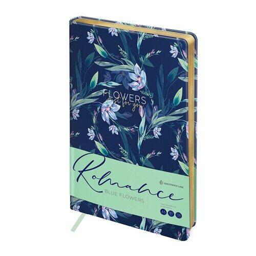 """Ежедневник недатированный A5  136л. Greenwich Line """"Romance. Blue flowers"""", кожзам, золотой cрез, ENA5-30080"""