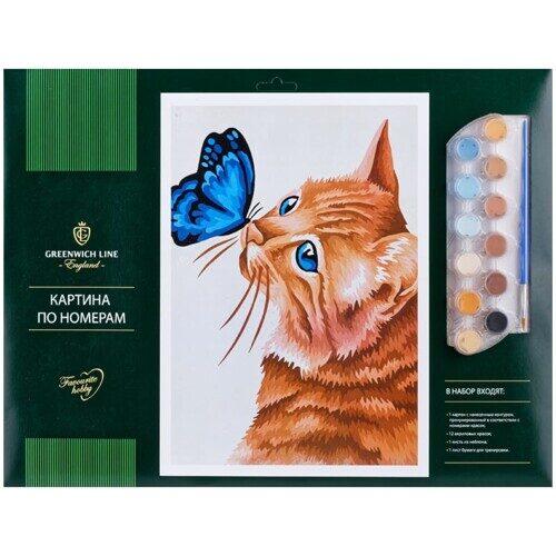 """Картина по номерам Greenwich Line """"Кот и бабочка"""", 40х50 см"""