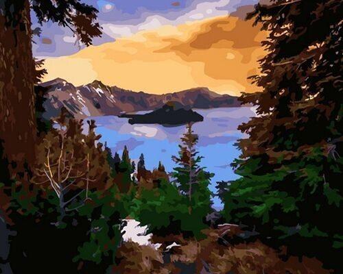 """Холст с красками по номерам  """"Озеро в горах"""", 40х50см"""