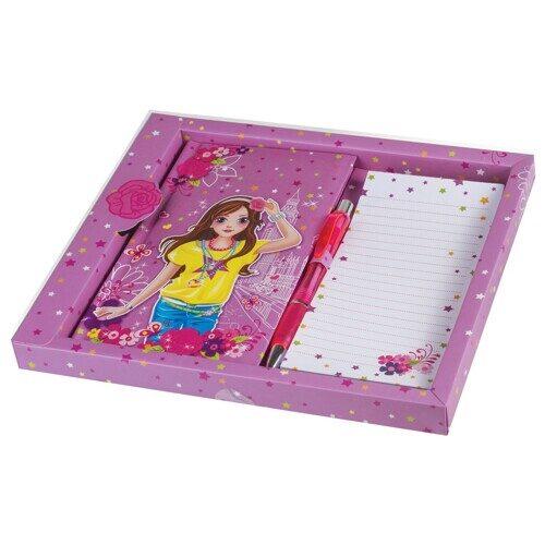 "Блокнот BRAUBERG ""Модница"", 7БЦ, А5, 80 л., ручка + блок для заметок, подарочная упаковка, арт. 128410"