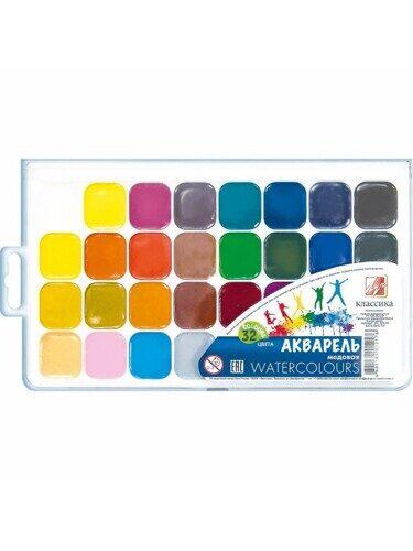 Акварель ЛУЧ Классика, 32 цветов, медовые, пластиковая коробка, без кисти, арт. 26С 1579-08