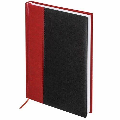 """Ежедневник недатированный А5 160л BRAUBERG """"Prestige"""", комбинированный, красный/черный, 128281"""