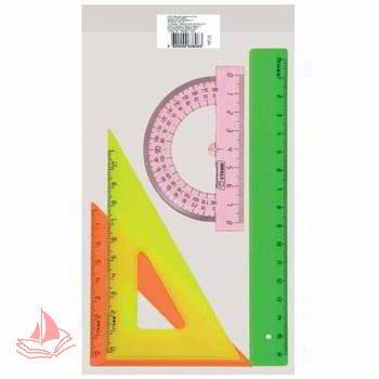 Набор Стамм Neon цветной линейка-16см ,треугольник-2шт, транспортир, цветной, арт. НГ12