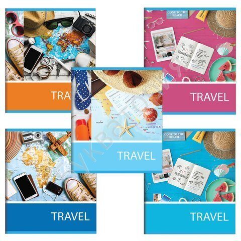 """Тетрадь BRAUBERG """"Путешествие"""" А5, 48 листов, клетка, обложка мелованный картон (ассорти), арт. 403020"""