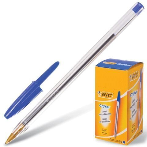 """Ручка шариковая BIC """"Cristal"""" (Франция), корпус прозрачный, синие детали, толщина письма 0,4 мм, синяя, 847898"""