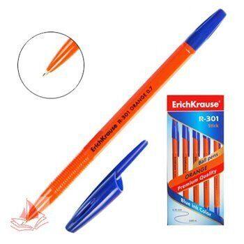 Ручка шариковая Erich Krause R-301 Orange синяя 0,7 мм., оранжевый корпус
