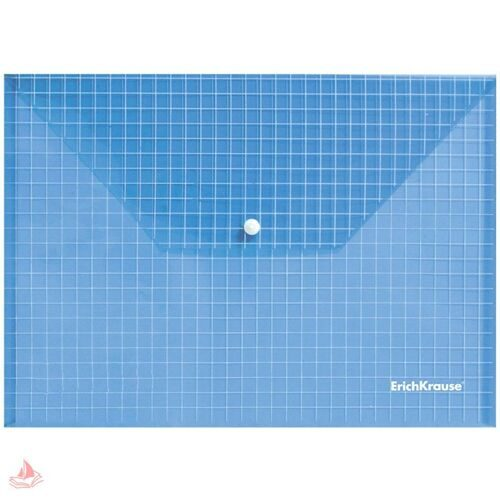 "Папка-конверт на кнопке А4 Erich Krause ""Envelope Folder"", 140мкм, синяя, 21766"