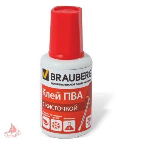 Клей ПВА BRAUBERG 20г, с кисточкой, морозостойкий, арт. 222875