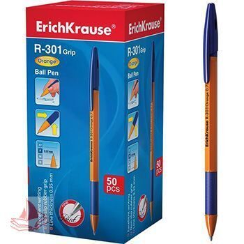 Ручка шариковая Erich Krause R-301 Grip Orange синяя 1,0мм, арт. 39531