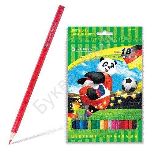 """Карандаши BRAUBERG """"Football match"""" 18 цветов, заточенные, дерево, арт. 180549"""