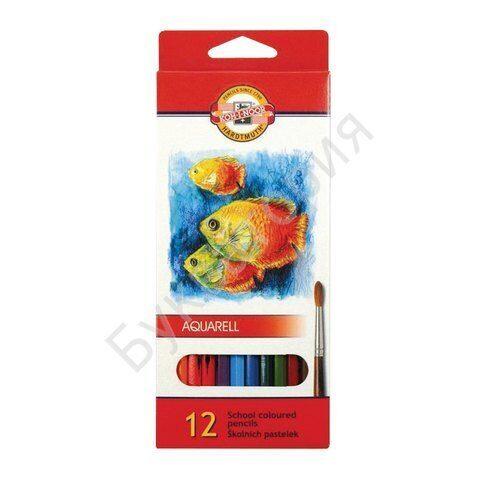 """Карандаши KOH-I-NOOR """"Fish"""" 12 цветов, шестигранные, грифель 3 мм, акварельные, арт. 3716012004KS"""