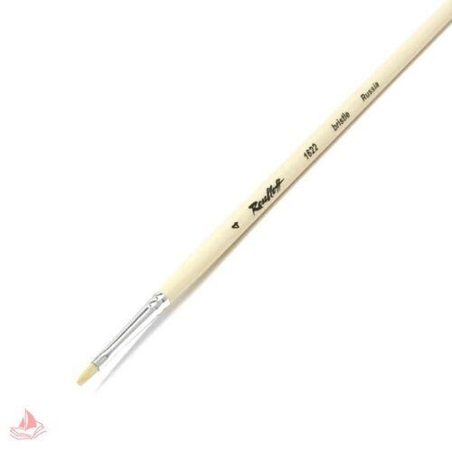 Кисть художественная ROUBLOFF (Рублев) щетина, плоская, № 4, длинная ручка, арт. ЖЩ2-04,02Б