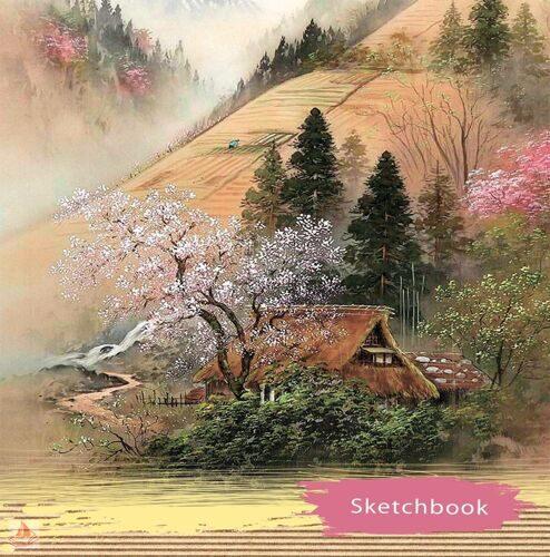 """Скетчбук 80л. """"Дом возле склона"""", матовая ламинация, 150х150 мм, арт. 80-3582"""