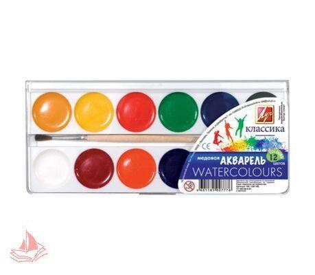 Акварель ЛУЧ Классика, 12 цветов, медовые, пластиковая коробка, с кистью, арт. 19С1287-08