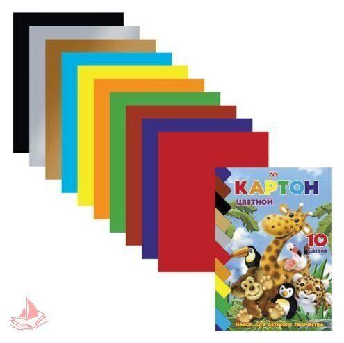 Картон цветной HATBER А5 мелованный, 10 листов, 10 цветов, Яркий Зоопарк, арт. 10Кц5к_10639
