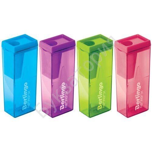 """Точилка пластиковая Berlingo """"NeonBox"""", 1 отверстие, контейнер, ассорти, арт. BBp_15008"""