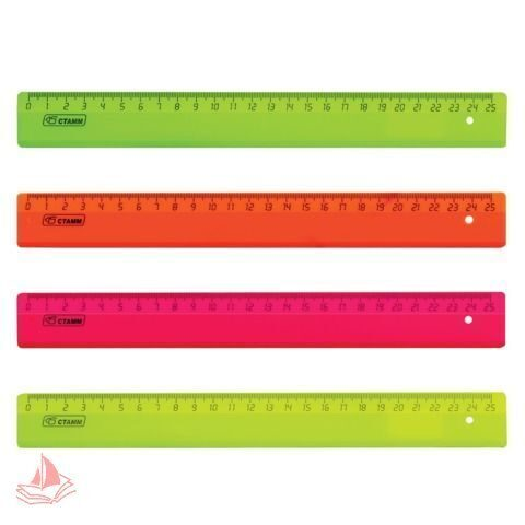 Линейка Стамм, 25 см, флуоресцентная, ассорти, 4 цвета, арт. ЛН21