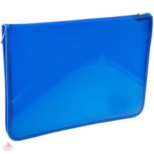 Папка для тетрадей Пчелка А5, 1 отделение, синяя, пластик, молния вокруг, арт. ПМ-А5-11/3