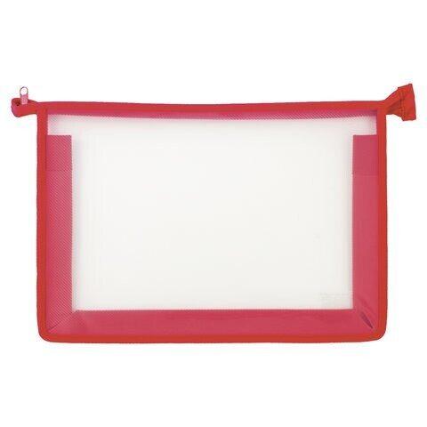 Папка для тетрадей ПИФАГОР, А4, пластик, молния сверху, прозрачная, красная, арт. 228208