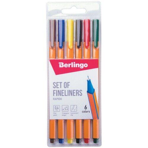 """Набор капиллярных ручек Berlingo """"Set of fineliners.Rapido"""", 06цв., 0,4мм, трехгран., европодвес"""