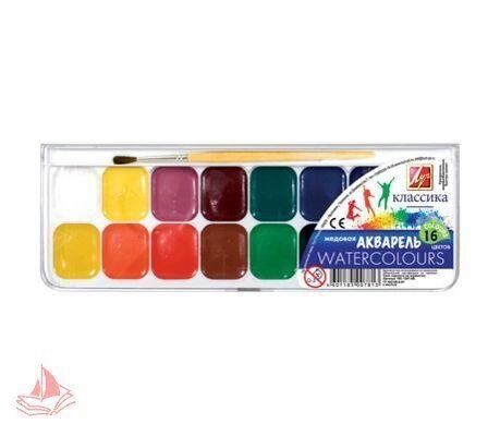 Акварель ЛУЧ Классика, 16 цветов, медовые, пластиковая коробка, с кистью, арт. 19С1291-08