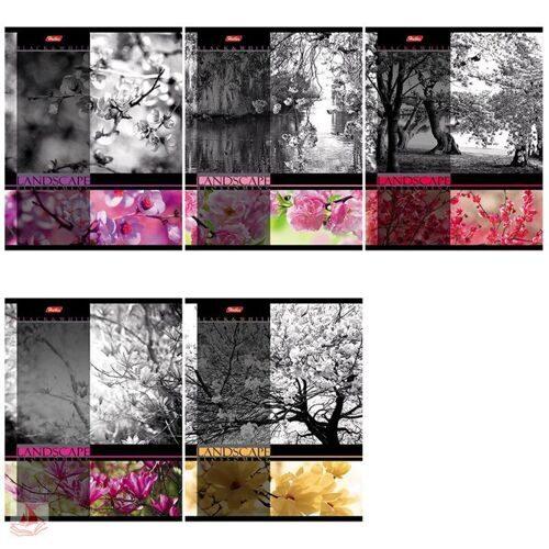 """Тетрадь 60л. А5 клетка """"Цветущие пейзажи"""", выборочный уф-лак, 60Т5вмВ1"""