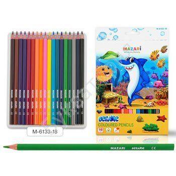 """Карандаши Mazari """"Oceanic"""" 18 цветов, трехгранные, деревянные, арт. M-6133-18"""