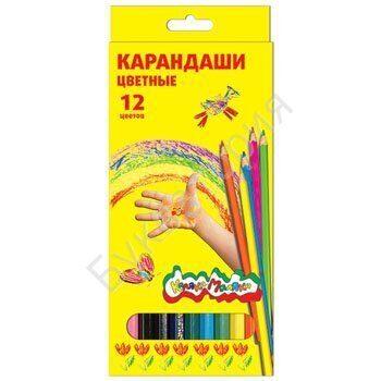 Карандаши Каляка-Маляка 12 цветов, шестигранные деревянные, картонная упаковка, арт. ККМ12