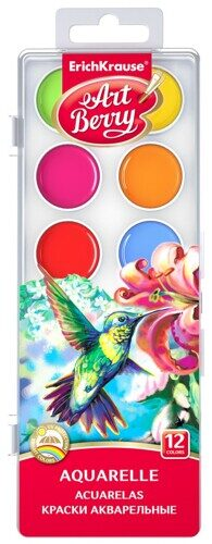 Акварель Artberry 12 цветов без кисти, УФ-защита яркости, пластиковая упаковка, европодвес, арт. 41724