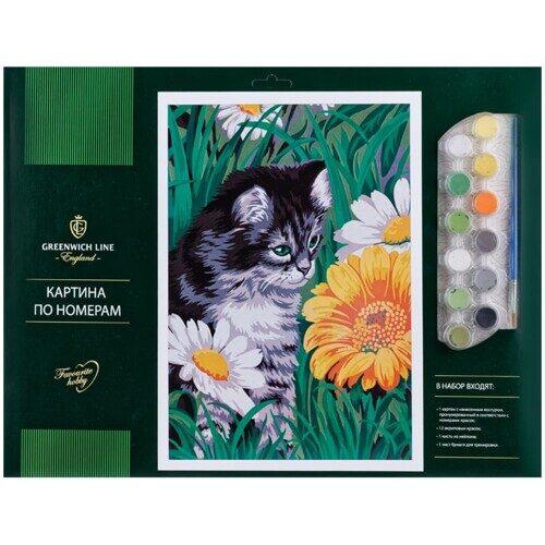 """Картина по номерам Greenwich Line """"Котик в цветах"""", 40х50 см"""