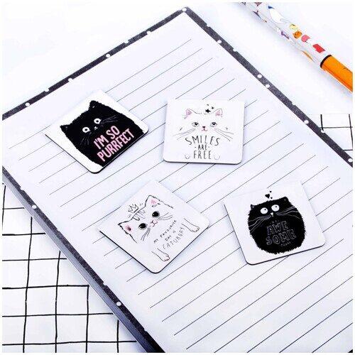 "Закладки магнитные для книг 35*35мм, 4шт., MESHU ""Kitty"""